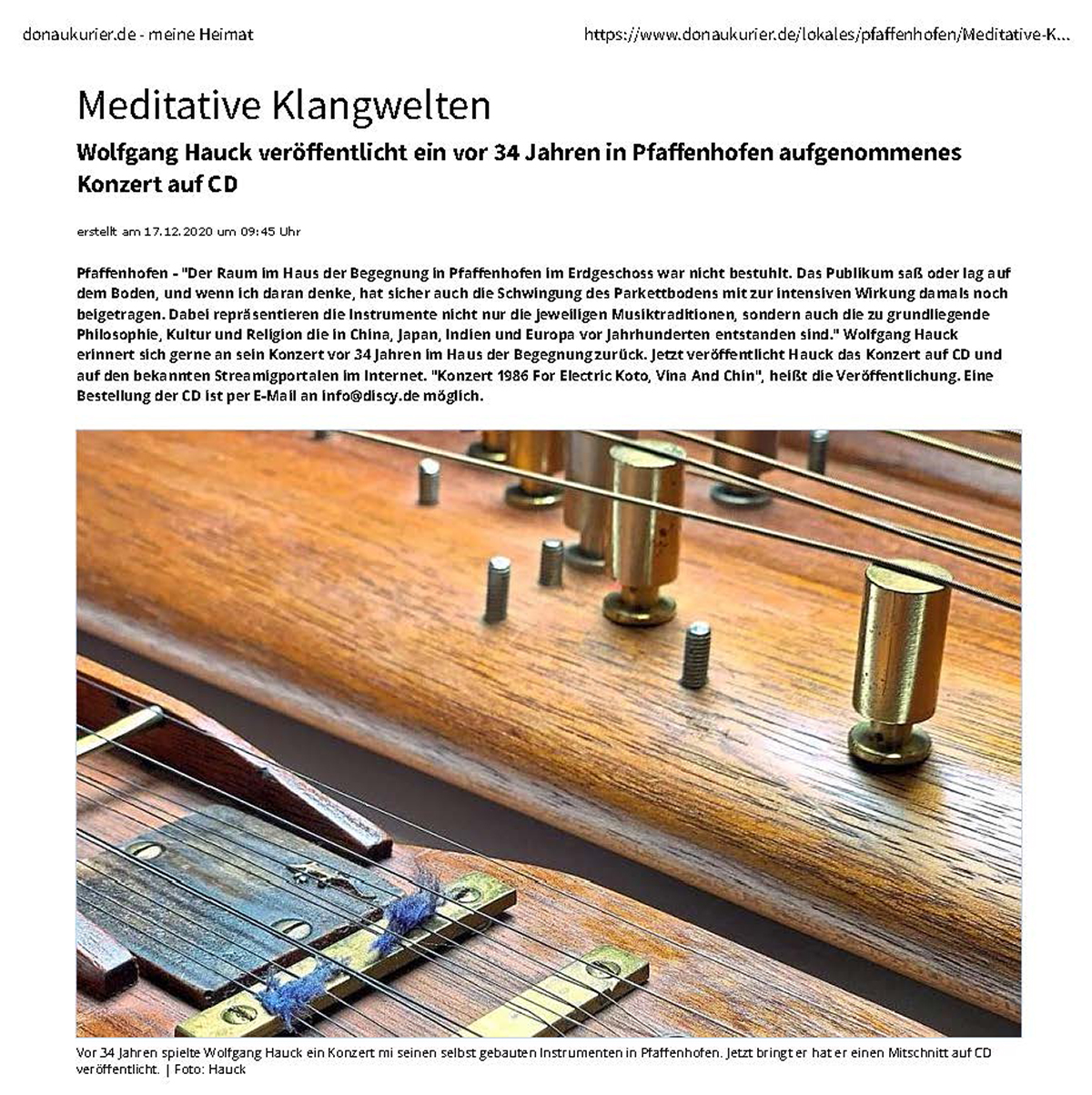 20201217 Pfaffenhofener Kurier Artkel Meditative Klangwelten Wolfgang Hauck Musik 01